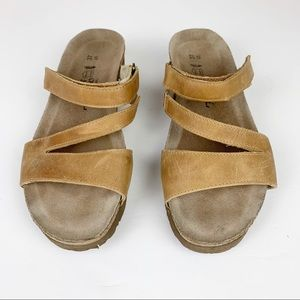 Naot Strappy Tan Leather Platform Slide Sandals